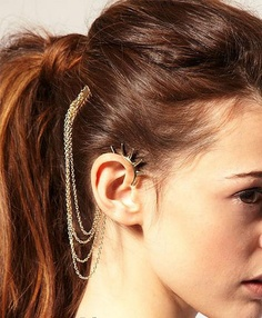 Silver Four Chain Cartilage Rivet Ear Wrap by necklacependantworld, $12.99