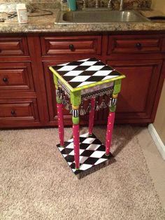 Hand Painted Accent side table black and by paintingbymichele