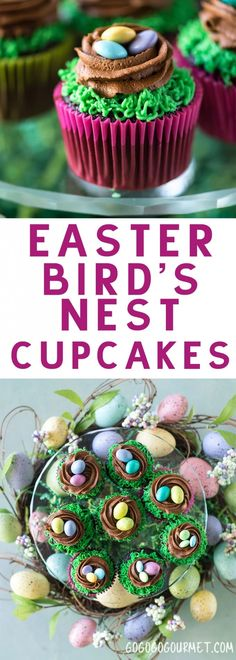 These Easter Birds Nest Cupcakes are an adorable and easy dessert to make for your Easter egg hunts! Two quick decorating maneuvers and some Easter candy are all that it takes!  via Go Go Go Gourmet