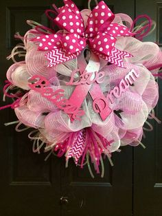 Hey, I found this really awesome Etsy listing at https://www.etsy.com/listing/153226375/breast-cancer-wreath