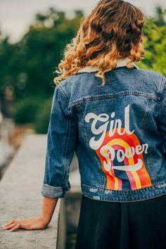 vintage girl PRE MADE hand-painted denim jacket - Girl Power Girls Denim Jacket, Painted Denim Jacket, Jean Jacket Outfits, Painted Jeans, Painted Clothes, Hand Painted, Denim Art, Men's Denim, Diy Vetement