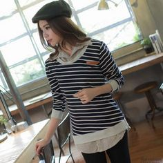 Inset Contrast-Trim Striped Top Shirt from #YesStyle <3 Lucky Leaf YesStyle.com