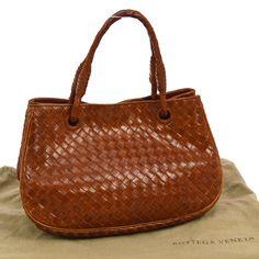 43db940bbd Authentic BOTTEGA VENETA Intrecciato Hand Bag Brown Leather Italy Vintage  905748