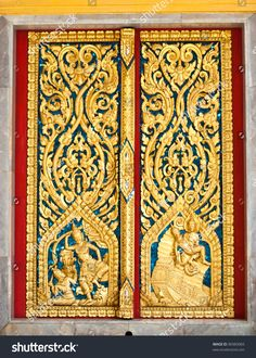 Pattern in traditional Thai style art on door of the temple in Thailand