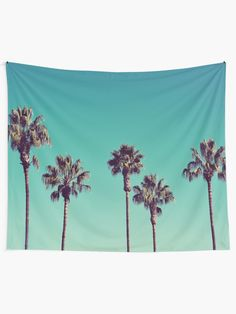 """""""California Palm Trees"""" Wall Tapestry by LawsonImages Tapestry Design, Wall Tapestry, California Palm Trees, Blanket On Wall, Colorful Tapestry, Beach Bedroom Decor, Thing 1, Tree Wall, Textile Prints"""
