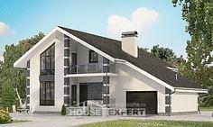 180-001-П Проект двухэтажного дома с мансардой и гаражом, современный дом из теплоблока