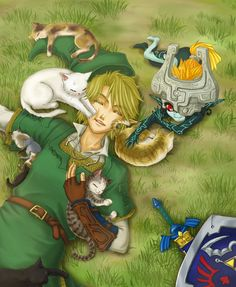 Link, Midna, and CATS! The Legend of Zelda: Twilight Princess fanart