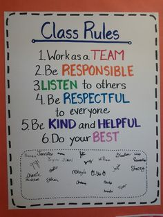 "Setting high expectations for students and making them clear to students: It is important to have students involved in establishing the classroom rules. I love how the students signed the bottom of this ""Classroom Rules"" as if it were a contract that they were binded to It makes it more official. If I were to incorporate this in my classroom, I might have the students write out the list so that it feels more important to them."