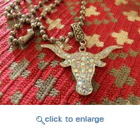 Cowgirl Jewelry Rhinestone Longhorn Necklace