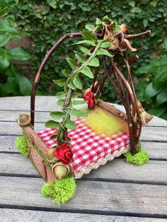 Canopy fairy bed, dollhouse bed, handmade fairy furniture