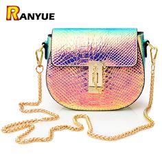 fa46939976b  Visit to Buy  PU Laser Small Mini Flap Bag Women Messenger Bags Chain  Serpentine Bolsa Luxury Handbags Women Bags Designer Crossbody Bags Sac