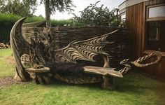 German wood carver used a chainsaw to create this bench. Igor Lostukow.