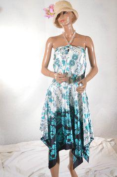 Robe asymétrique bleu motifs XANAKA  taille 40 ref 0716317
