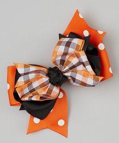Look what I found on #zulily! Orange & Black Plaid Bow Clip by Festive Fifi #zulilyfinds