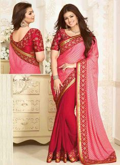 714e57ff9 Cream and red half and half sari with floral border Cream and red georgette  barasso half and half Comes with matching unstitched blouse material