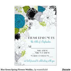 Blue Green Spring Flowers Wedding RSVP Invitation