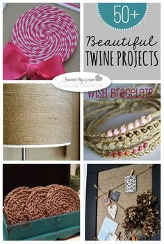 About two years ago, I discovered baker's twine and fell a little in love. Today I am sharing some of the best twine crafts out there, using all kinds of twine, including my precious baker's! Twine Crafts, Yarn Crafts, Diy And Crafts, Crafts For Kids, Crafty Craft, Crafting, Creative Crafts, Creative Things, Diy Projects To Try