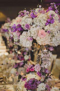 #reception #centerpiece #wedding #hydrangea #rose #purple #white #pink #table #decor