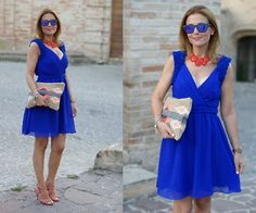 Little Mistress Cobalt Blue Prom Dress, Pull & Bear Aztec Clutch, Cesare Paciotti Sandals, Oakley Sunnies