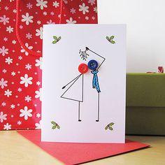 Button Mistletoe Christmas Card  - cute idea for newlyweds to send