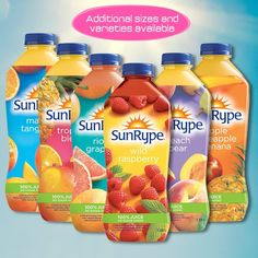 SunRype Juices The goodness of juice is tough to beat. No added sugar and no artificial flavours or colours. Juices, Seal, Raspberry, The 100, Tasty, Colours, Drinks, Food, Products