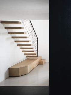 Modern home with Staircase, Metal Railing, Metal Tread, Cable Railing, and Wood Tread. Photo 13 of Martina Bamboo Architecture, Stairs Architecture, Architecture Details, Interior Architecture, Modern Staircase, Staircase Design, Staircase Metal, Modern Railing, Metal Railings
