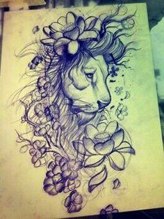 Amazing lion tattoo! Cherry blossom and lotus flower make it more feminin.