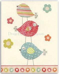 bird nursery decor | ... nursery Decor, Nursery Art, love bird...Pastel series 3 stacked birds