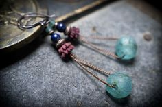 boho tribal earrings • African beads • recycled glass • Eucalytus seeds • Lapis Lazuli • copper chain • trapeze • excavation beads • blue by entre2et7 on Etsy