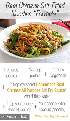Guide to make your own stir fried noodles plus my secret Real Chinese All Purpose Stir Fry Sauce. 15 minute meal! Hope you give it a try :) (Note: Use tofu for the protein and the sauce recipe has a easy vegan sub in the notes).