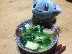 今日の晩ご飯  小松菜と油揚げのお浸し  2017.4.20