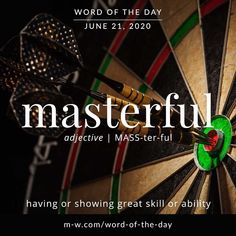'Masterful' is the #wordoftheday . #language #languagelearning #merriamwebster #dictionary Merriam Webster, Writers Write, Word Of The Day, Some Words, Vocabulary, Language, Writing, Instagram, Creative