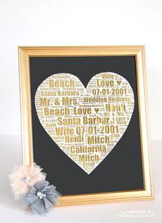 Gold Foil Wedding Print Gift Idea