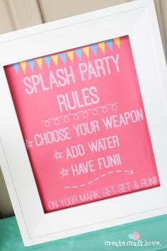 Download your own Splash Party Rules Printable for FREE at createcraftlove.com! Pool Party Crafts, 2nd Birthday, Birthday Parties, Birthday Ideas, Splash Party, Party Rules, Water Party, Summer Parties, Summer Bash