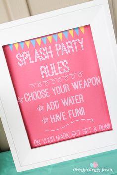 Splash Party Rules Printable