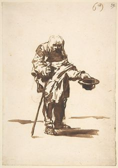 *Beggar with a Staff in His Right Hand, from Images of Spain Album (F), 69* Goya (Francisco de Goya y Lucientes)  (Spanish, Fuendetodos 1746–1828 Bordeaux)