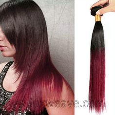 Ombre Hair #1b to #530 Red Brazilian Virgin Hair Extensions