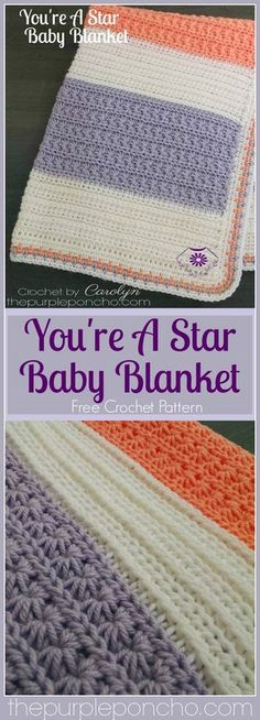 You're A Star Baby Blanket is the first in my collection of Star Stitches. I fell in love with this stitch and couldn't stop making them. I love the way they look with the circular shap…