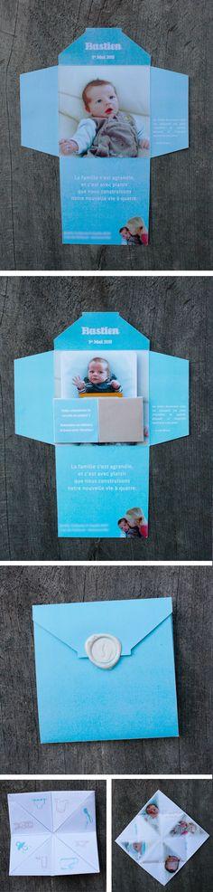 faire-part enveloppe avec jeu de la cocotte en papier