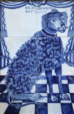 blue - dog - tile - azulejo - Dutch, half C. Delft Tiles, Tile Art, Tile Murals, Tile Panels, Willow Pattern, Antique Tiles, Portuguese Tiles, Blue China, Glazes For Pottery