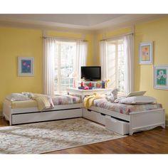 Platform Beds, Corner Unit with 6 Storage Drawers | Solid Wooden Complete Platform Frame Beds Storage Drawer Trundle