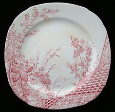 Red Transferware Biscuit Plate ~ RASPBERRY 1885