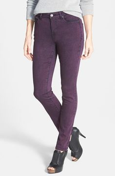 purple stretch skinny jeans