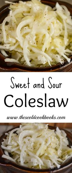 This Sweet and Sour Coleslaw is a vinegar-based slaw that is easy to make but patience is required for all the sweet and tangy flavors to emerge. Cabbage Salad Recipes, Cabbage Slaw, Salad Dressing Recipes, Coleslaw Dressing, Asian Coleslaw, Cabbage Steaks, Sweet And Sour Coleslaw Recipe, Coleslaw Recipe Easy, Sweet And Sour Salad Dressing Recipe