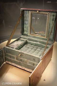 From the days of Marie Antoinette, a royal 18th century traveling jewelry box photographed in Paris at the Musee des Arts Decoratifs. Can you just imagine the jewels that filled this beauty?
