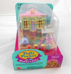 Polly Pocket Pollyville Nursery School 90s Childhood, Childhood Memories, Polly Pocket World, Mcdonalds Toys, Nursery School, 90s Kids, Vintage Vogue, Vintage Toys, Art Drawings