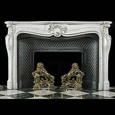 Antique Large Louis XV White Marble Rococo Fireplace Mantel