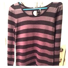 Black &Charcoal Striped Long Sweater Long Sweater, lightweight, could even be worn as a dress w/ tights and oxfords w/ a heel or booties! I've even wore it w/ black distressed skinnies& Chucks! Lapis Sweaters