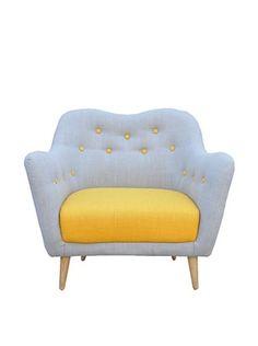 International Design USA Sweetheart Button Tufted Chair, Hazy Blue