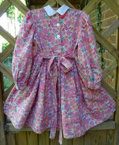 Child's dress in Liberty wool/cotton mix: back view. Hand smocked by Mary Addison 16.7.14